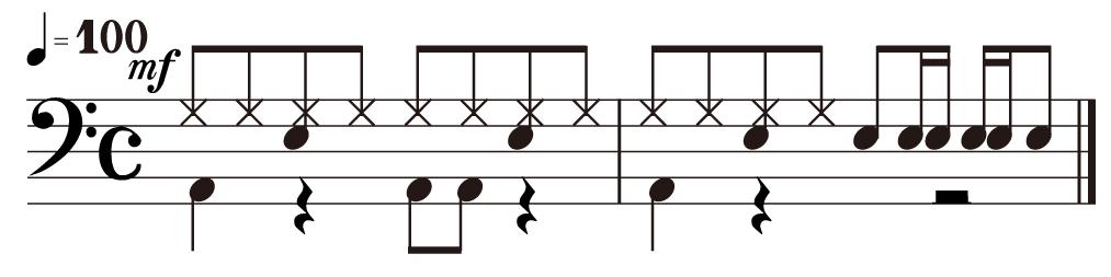 単純な8ビート ドラムの練習方向