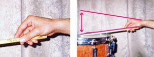 ホールドグリップ スティックと手の角度